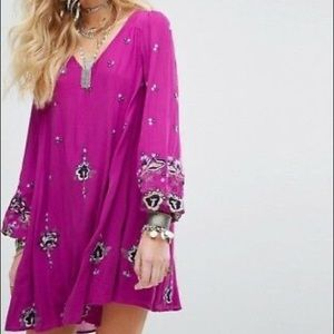 Free People embroidered purple lilac swing dress